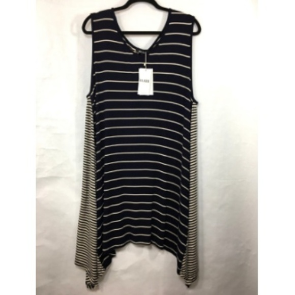 Relaxx Dresses & Skirts - Relaxx Tunic Dress 2XL Blue White Stripe Uneven